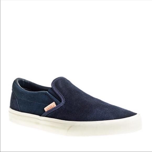 Vans Shoes   Navy Suede Slip On Vans